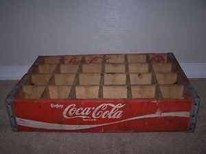 Vintage Red Coca Cola Wood 24 Bottle Crate Dallas TX 1972 Carrier Caddy Box