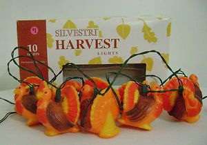Thanksgiving Party String Lights : Set of Silvestri Blow Mold Turkey String Lights Thanksgiving
