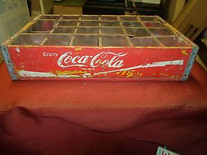 Vintage Coca Cola Wooden 24 Bottle Carrier Crate Coke