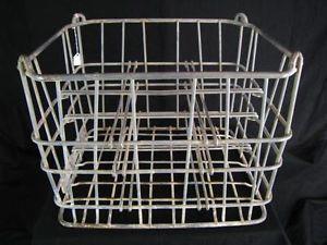 Vintage Steel Wire Dairy Milk Bottle Crate Carrier Basket Industrial Decor