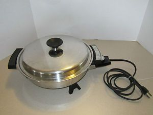 Webalco Lifetime Liquid Oil Core Electric Skillet Stainless Steel USA 900W 7884