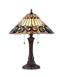 "Tiffany Style Stained Glass Victorian 2 Light Table Lamp 16"" Shade Handcrafted"