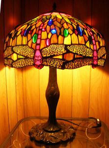 Tiffany Style Stained Glass Table Lamp Dragonfly Design