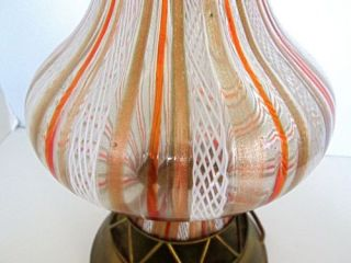 Vtg Murano Glass Table Lamp White Lattice Gold Glitter Red Orange Ribbon Stripe