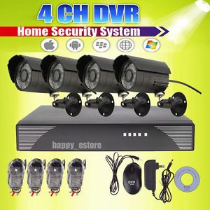 Standalone 4 Channel H 264 CCTV DVR Kit Home Outdoor Night Day Security Cameras