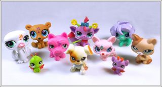Lot of 10 Littlest Pet Shop LPS Cat Dog Toy Animals Figures Child Girl Xmas PS52