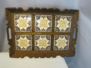 Vintage Mexican Tile Wood Serving Tray Handmade Arts Crafts Handles 18x13 Sturdy