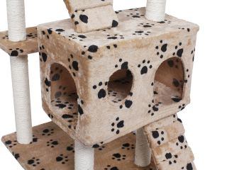 "New 73"" Cat Tree Condo Furniture Scratch Post Pet House Beige Navy Beige Paws"