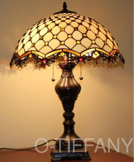 "Tiffany Style Stained Glass Table Lamp ""Cabachon"" w 18"" Shade Metal Base"