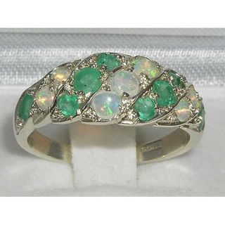 Luxury Ladies Solid Sterling Silver Natural Fiery Opal Emerald Band Ring