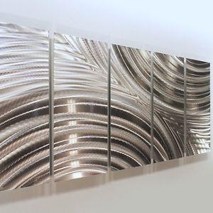 Modern Silver Abstract Metal Wall Art Sculpture Decor Synchronicity Jon Allen