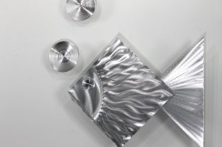 Modern Abstract Metal Wall Art Tropical Silver Fish 2 Bubbles by Jon Allen