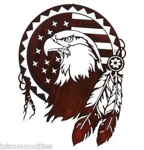 American Bald Eagle Shield by Bindrune Design Laser Cut Metal Wall Art