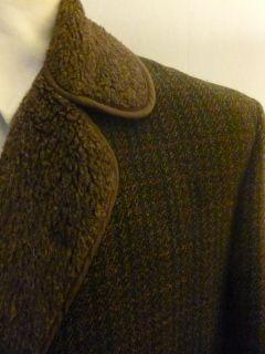 Mens Vtg Retro 60s Green Tweed Faux Pile Glenoit Winter Car Coat Jacket Large 44