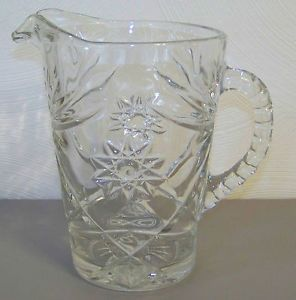 Beautiful Cut Glass Pitcher Heavy Glass Water Pitcher Possibly Vintage