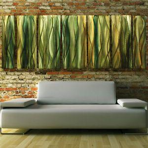 """Modern Green Gold Abstract Metal Wall Art Office Decor Sculpture """"Natural Reeds"""""""