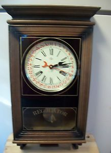 Vintage Elgin Wall Clock 31 Day Regulator Key Wind Clock w Pendulum Chime