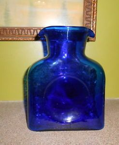 Blenko Glass Cobalt Blue Water Pitcher Jug