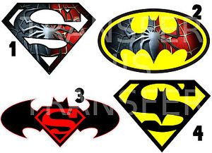 Superman Spiderman Batman Logo Iron on T Shirt Fabric Transfer Marvel Heros