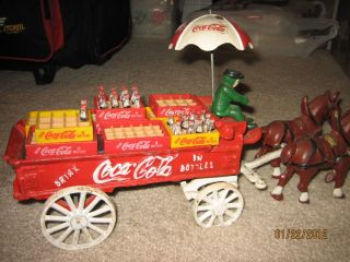 Vintage Cast Iron Coca Cola Delivery Wagon Bottles Crates Driver Umbrella
