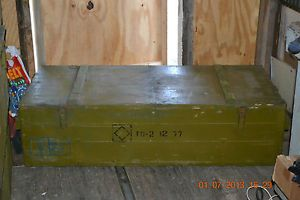 """Large"" Vintage U s A Military Wood Ammo Box Crate Wooden Trunk Coffee Table"