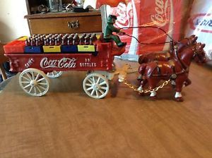 Coca Cola Cast Iron Horse Drawn Wagon with Coke Crates and Bottles