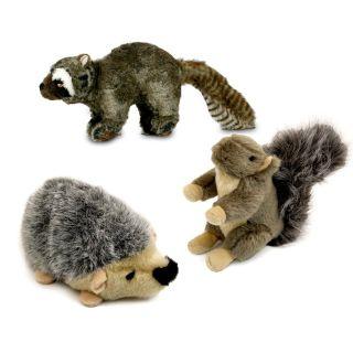 3 PC Woodland Wildlife Critters Plush Squeaky Dog Toys Raccoon Hedgehog Chipmunk