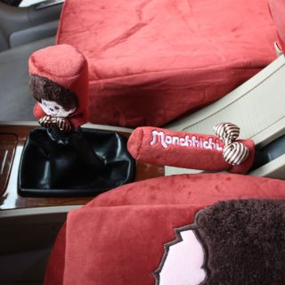 Monchhichi Car Auto Handbrake Manual Automatic Gear Shift Cover Set 2pcs Red
