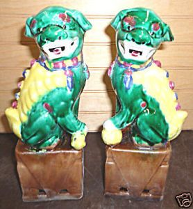 "Pair San Choi Foo Dog Chinese Porcelain Statue 8 5""H"