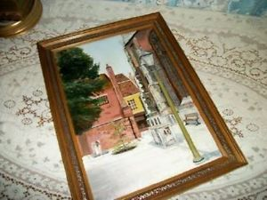 Chic Vintage London Street Scene Oil Painting Shabby Cathedral Window Lovely