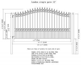 Driveway Gates Iron Gates Steel Gate New Prague Style 12' Single Dividable