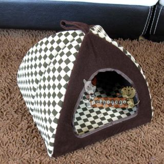 Dog Pet Cat House Indoor Pet Dog Cat House Bed Classical Grid Brown Sz Small