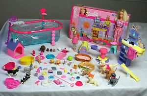 Barbie Kennel Care Pet Grooming Center Playset w Sounds Dog Pool Furniture Lot