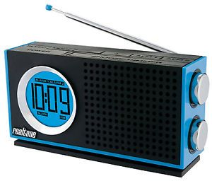 Realtone RT212L Am FM Portable Dual Alarm Clock Radio Blue