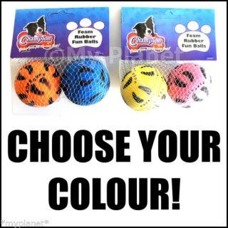 Champion Foam Hard Rubber Mini Fun Balls Pet Dog Play Fun Toy Twin Pack 6cm New