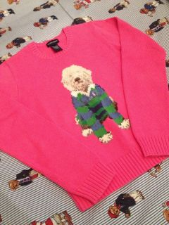 Ralph Lauren Girls Dog Sweater XS Girls XL16 Dog Knit Polo Bear RL