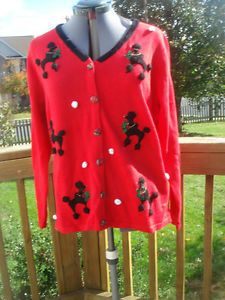 New Large L  Quacker Factory Poodle Dog Beaded Christmas Sweater