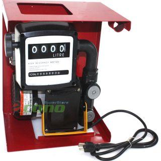 110V Electric Oil Fuel Diesel Gas Transfer Pump w Meter 12' Hose Manual Nozzle