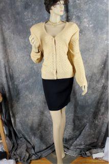 Shimmer Crystal Rhinestone Gold Knit Suit Jacket Blazer St John Evening 12 14 16