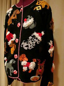 Michael Simon New York Womens Ugly Tacky Christmas Cute Dog Sweater Size L 0748