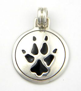 Sterling Silver Wolf Track Paw Print Pendant New Dog