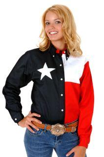 Roper Ladies Shirt Red White Navy Long Sleeve Texas Flag Design Cotton 0201