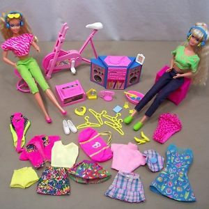 Vintage 80's Barbie Dolls Clothing Shoes Accessories Furniture Good for OOAK