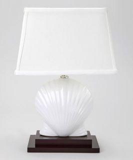 White Scallop Shell Table Lamp Ocean Beach Shabby Chic Decor