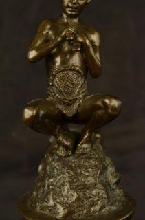 Signed Original American Fisher Nude Boy Holding Fish Bronze Sculpture Statue