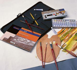 Oil Painting Art Artist Portfolio Kit Set Paints Paint Brushes Palette Knife