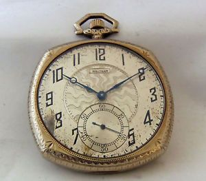 1920 Waltham 14k White Gold Pocket Watch Cushion Shape Art Deco Swing Out Case