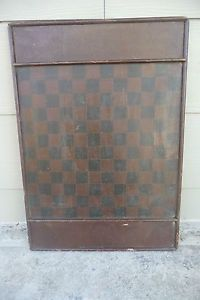 Antique 19thC American Folk Art Painted Wooden 144 Squares Checkers Game Board