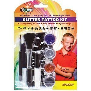 Glimmer Body Art Glitter Tattoo Tattoos Kit Spooky 15 Stencils Shimmer TV Skull