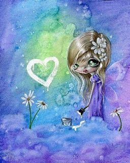 """Original Drawing Painted Love Sweet Clouds Fairy 8x10"""" Big Eye Fantasy Art OOAK"""